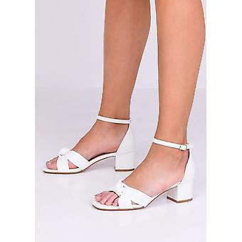 Faux Leather Knot Front Block Heeled Sandals White