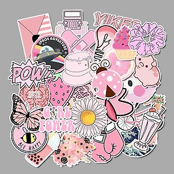 Girl Stickers Waterproof Skateboard, Scrapbook Pink Sticker Pack Animal Racing