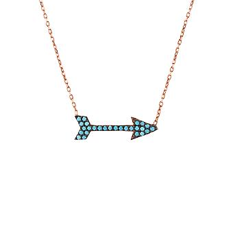 Pink Black Blue Arrow Archery Turquoise CZ Gemstone Rose Gold Pendant Necklace