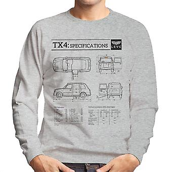 London Taxi Company TX4 Specifications Blueprint Men's Sweatshirt