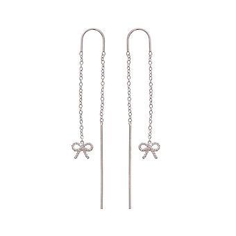 Olivia Burton Obj16vbe14 Vintage Bow Chain Drop Earrings Sterling Silver