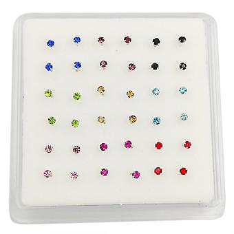 925 Sterling Silver Mix-color 2-mm Crystal Nose Stud Indian Nose Pin