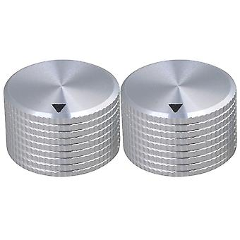 2pcs Argent Aluminium Lattice Shape HIFI Speaker Potentiometer Knobs