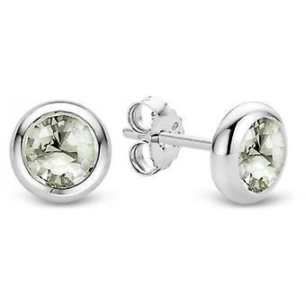 Øreringe Ti Sento 7748GG - øreringe sølv Serti lukket runde grå grønne kvinde