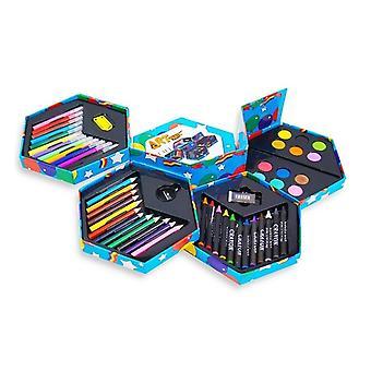 Childrens 52-piece Craft Art Stationery Box�  With Felt Tip Pens Crayons Coloured Pencils Paints Sharpener Eraser Etc