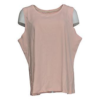 Isaac Mizrahi Live! Women's Top Pima Cotton Scoop Neck Tank Pink A373150