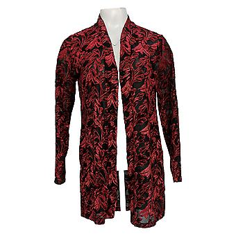 Susan Graver Women's Top Occassion Knit Embroidery Cardigan Long Slv Red