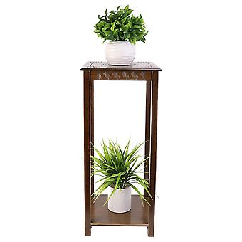2 Tiers Antique Chinese Style End Table Plant Stand Carving Top