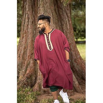 Jawad men's short sleeve gandoura thobe in bordeaux