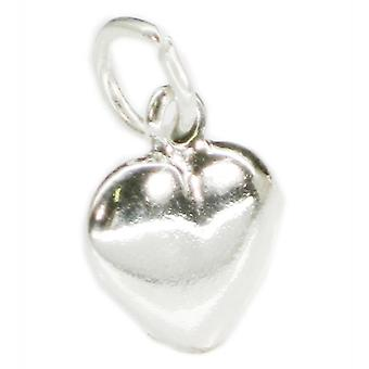 Puffed Plain Heart Sterling Silver Charm .925 X 1 Love And Hearts Charms - 3214