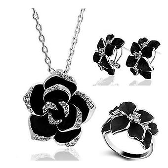 Rose Flower Enamel Jewelry Set, Bridal Jewelry Sets