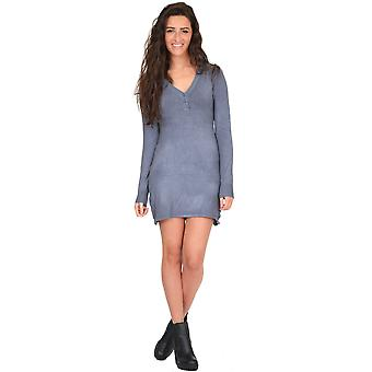 Stretch Knit Fitted Tunic Jumper Dress in Light Grey