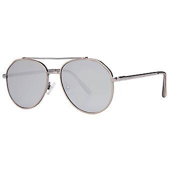 Nio West D-Frame Emalj speglade lins solglasögon - glänsande silver/grå
