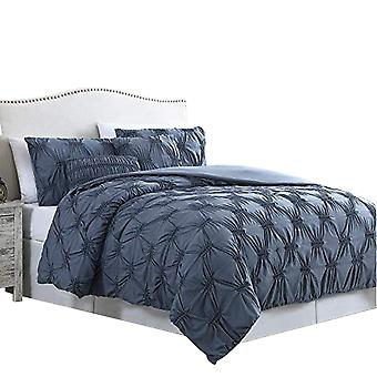 Marseille 5 Piece Queen Comforter Set With Pinch Pleated Design The Urban Port, Blue