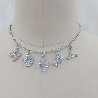 Letter Crystal Angel Women Jewelry Couple Necklace