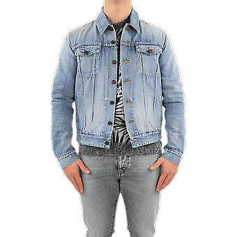 Veste en denim Classique Saint Laurent Destroyed Blue 627584Y820L4669Outerwear