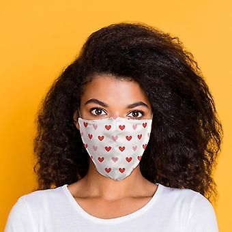 Branco com corações vermelhos reutilizável cobertura facial - grande