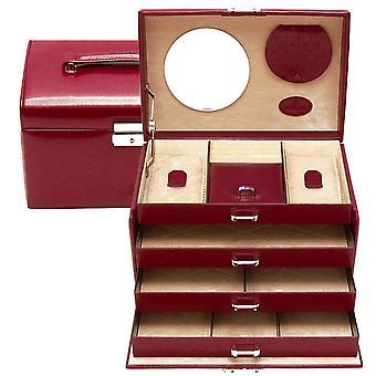 Windrose Merino sieraden koffer gemaakt van fijn synthetisch, rood