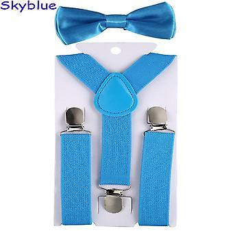 Barn justerbara elastiska hängslen med bowtie set hängslen bröllop