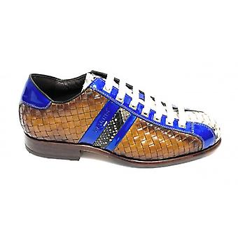 Herrskor Harris Fotboll Bottenhand Flätat Ochre Leather/ Rock Python Print/ Shade Blue U17ha87