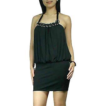 Chic Star Sexy Drape Halter Mini Dress In Black