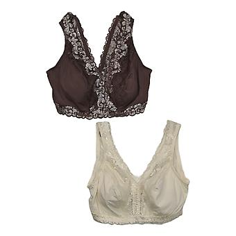 Breezies Sz3X One Soft Support Wirefree Bra w/Lace Set de 2 Brown A373660