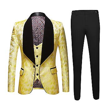 Mile Men's One Button Blue Fruit Collar Jacquard Suit Three Pieces (jacket And Waistcoat And Trousers)