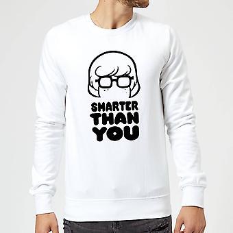 Scooby Doo Smarter Than You Merch Long Sleeve Sweatshirt Jumper Top - White