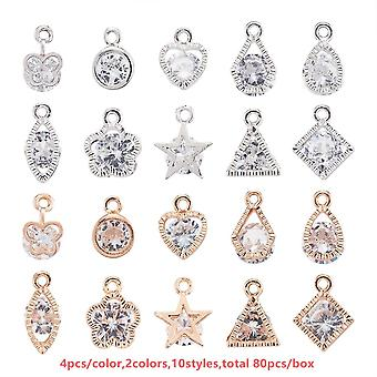 Alloy Crystal Heart Charms Pendants For Jewelry Necklaces Bracelets