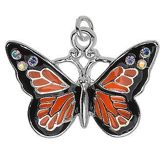 Verzilverde en geëmailleerde charme, Monarch w / Swarovski Kristallen AB, 1 pc, Oranje