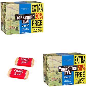 Yorkshire Decaf Black Tea 120 Bags Pack of 2 with 2 x Free Lotus Caramelised Biscuits 6g