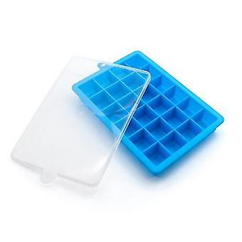Cavity Ice Cube Tray 24 Lattice with Cover Silicone Ice Cream Maker Mold Kitchen Accessories(Blue)
