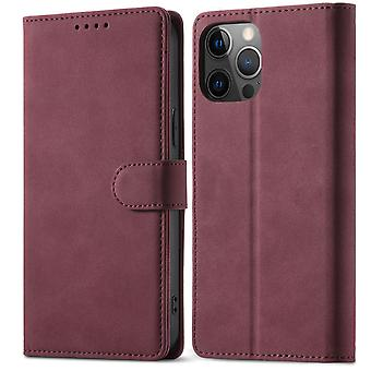 Flip folio leather case for samsung a12 5g wine red pns-4253