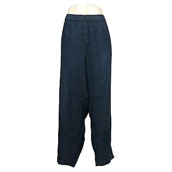 DG2 By Diane Gilman Women's Plus Pants Elastic Waist Cropped Blue 688317
