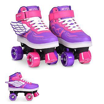 Byox Roller Skates Angel Diverses Tailles, Rouleaux en PVC, Roulements ABEC-5, Sole légère