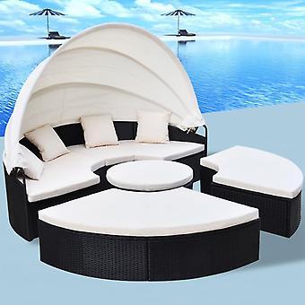 vidaXL îlot de soleil outdoor Poly Rottan Noir