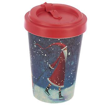 Jan Pashley Christmas Santa Reusable Screw Top Bamboo Composite Travel Mug