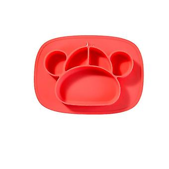 Silicone Grip Dish, Suction Plate,baby Toddler Plate,microwave Dishwasher Safe(RED)