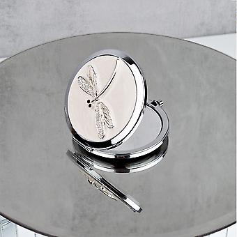 Sophia Silverplate Nude Dragonfly Compact Mirror