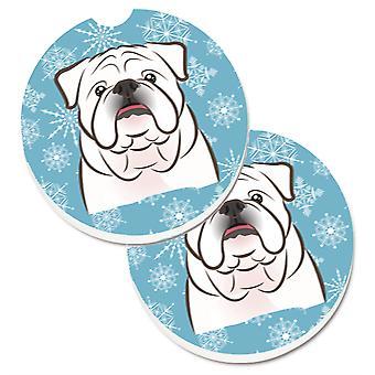 Caroline's Treasures Fiocco di neve Bianco Inglese Bulldog Set di 2 Cup Holder Car Coasters BB1654CARC, 2.56, Multicolor