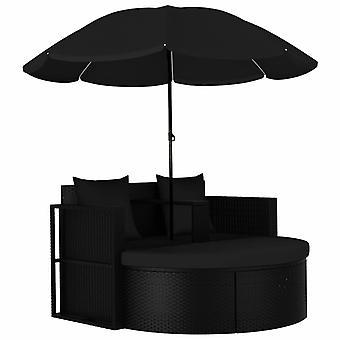 vidaXL lit de jardin avec parasol Poly Rottan Noir