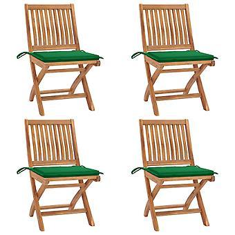 vidaXL Taitettavat puutarhatuolit tyynyillä 4 kpl. massiivipuu tiikki