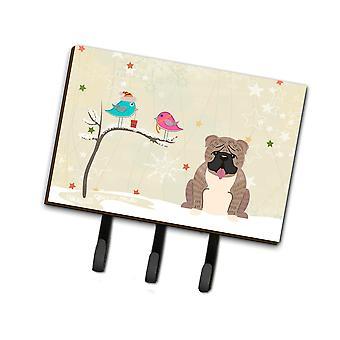 Caroline's Treasures Regalos de Navidad entre amigos English Bulldog Grey Brindle Leash Or Key Holder Bb2598Th68, Triple, Multicolor