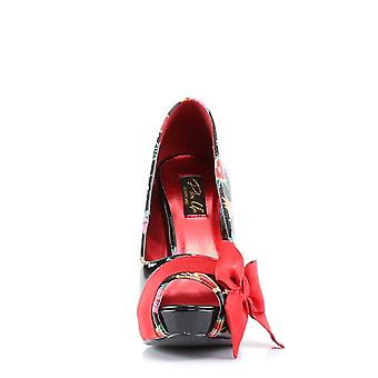 Pin Women's Shoes Up Blk Pat-Red Satin (Sacred Hearts)