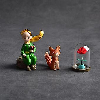 3pcs Lovely The Little Prince Rose Fox Resin Figurine Collection Home Desktop Decoration