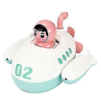 Baby bevægelig vind?up ubåd legetøj flydende bad legetøj småbørn vand sprøjter legetøj (Hvid Pink)