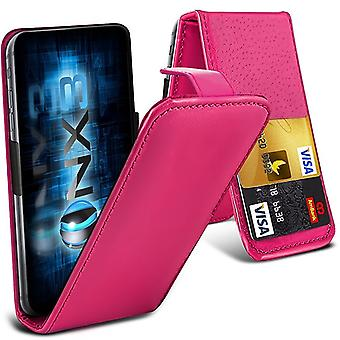 ONX3 (Hot Pink) Nokia 8 Universal Luxury Style Folding PU Leather Spring Clamp Holder Top Flip Case with 2 Cards Slot, Slide Up and Down Camera