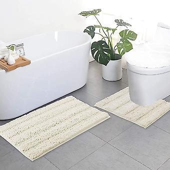 Alfombras de baño de marfil, juegos de alfombras de contorno, esteras de baño extra gruesas, alfombras de baño de chenilla de felpa suaves antideslizantes (50 x 80 cm más 50 x 50 cm u)