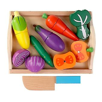 Lasten puinen tarjotin, magneettinen hedelmä- ja kasvislelu