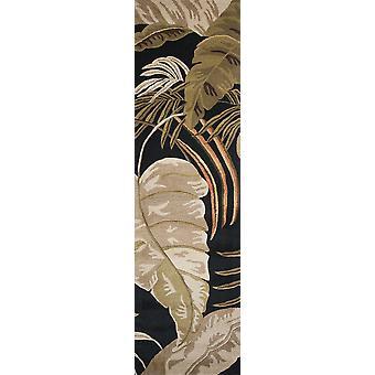 2' x 8' Midnight Leaves Wool Runner Teppich